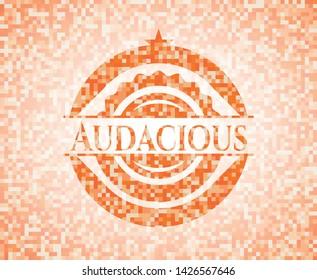 Audacious orange mosaic emblem. Vector Illustration. Detailed.