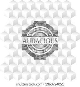 Audacious realistic grey emblem with cube white background