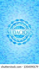 Audacious realistic sky blue mosaic emblem