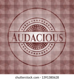 Audacious red emblem with geometric pattern background. Seamless.