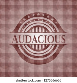 Audacious red seamless emblem or badge with abstract geometric pattern background.