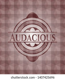 Audacious red seamless emblem with geometric pattern.