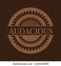 Audacious retro style wood emblem. Vector Illustration.