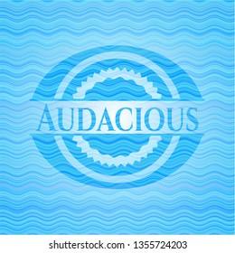 Audacious sky blue water emblem.