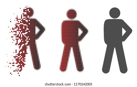 Audacity pose icon in dissolved, pixelated halftone and undamaged whole versions. Fragments are grouped into vector dissolving audacity pose icon.