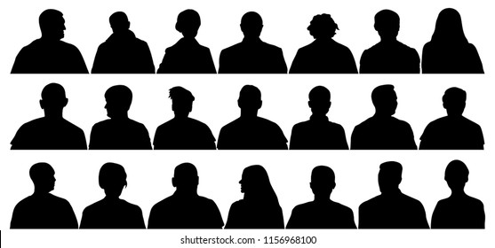 Audience cinema, theater. Crowd of people in the auditorium, silhouette vector isolated