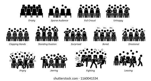 Audience, crowd, and people reactions toward stage performance. Pictograms depict spectators of live show emotions and actions such as happy, unhappy, clapping hands, surprised, bored, angry, and cry.