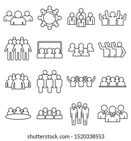 Audience customer icons set. Outline set of audience customer vector icons for web design isolated on white background