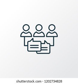 Audience engagement icon line symbol. Premium quality isolated communication element in trendy style.