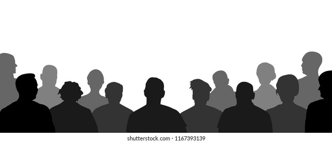 Audience, public, auditory, classroom. Crowd of people auditorium, silhouette vector