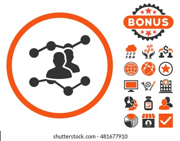 Audience Trends icon with bonus. Vector illustration style is flat iconic bicolor symbols, orange and gray colors, white background.