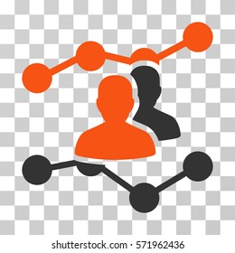 Audience Trends icon. Vector illustration style is flat iconic bicolor symbol, orange and gray colors, transparent background. Designed for web and software interfaces.