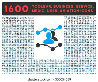 Audience Trends vector icon and 1600 other business, service tools, medical care, software toolbar, web interface pictograms. Style is bicolor flat symbols, blue and gray colors, rounded angles, white