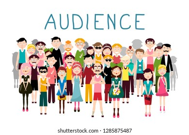 Audience Vector Illustration. Vector Groop of People Avatars on White Background. Men and Women in Crowd.