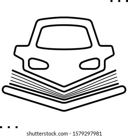 Audio book  for car line art icon