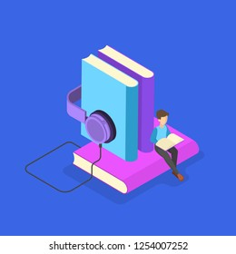 Audio book concept. Idea of online education and knowledge. Study in the internet. Modern technology and library. Vector isometric illustration