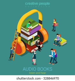 Audio books flat 3d isometric electronic library concept. Micro people on pile of books listening to the huge headphones. Creative people collection.