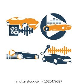Audio Car System Logo Template set Icon Symbol Vector
