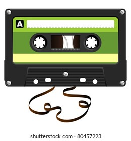 Audio Cassette with damaged tape over white