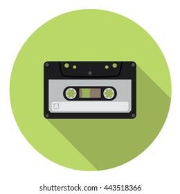 Audio Cassette Flat Style Design Icon