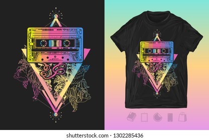 Audio cassette and graceful flowers in mystical triangle. Print for t-shirts and another, trendy apparel design