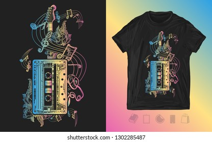 Audio cassette, guitar and music notes. Neon print for t-shirts and another. Retro music, nostalgia, 80th and 90th