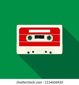 Audio Cassette Icon. Flat Style.