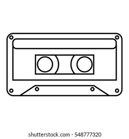 Audio cassette icon. Outline illustration of audio cassette vector icon for web