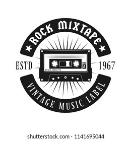 Audio cassette music emblem, lapel, badge or logo in monochrome vintage style isolated on white background
