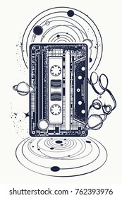Audio cassette, music notes and universe tattoo and t-shirt design. Symbol of retro nostalgia, 80th and 90th, disco t-shirt design