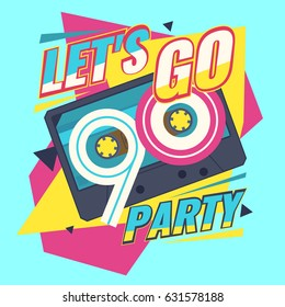Audio cassette on red background. Let's go retro party 90's. Vector illustration.