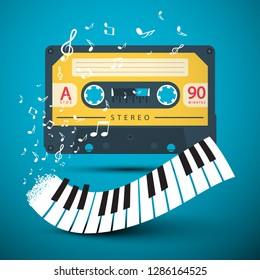 Audio Cassette with Piano Keyboard and Notes on Blue Background. Vector Music Design for Covers and Posters.