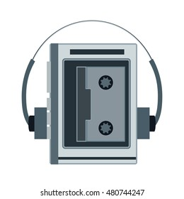 Audio cassette player. Retro music gadget from 21-st century. Old musical device vector illustration. Tape stereo walkman recorder with headphones and radio