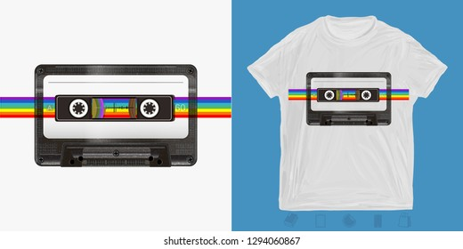 Audio cassette and rainbow. Music print for t-shirts and another, trendy apparel design. Old school style 80s and 90s