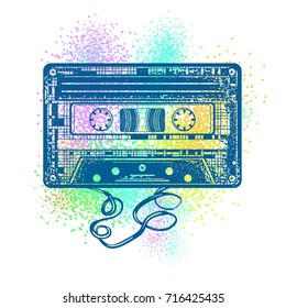 Audio cassette. Retro music concept. Old school style. Poster 80s and 90s