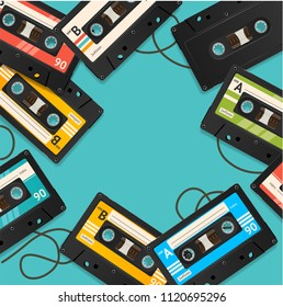 Audio Cassette Tape Background Card on a Blue Vintage Obsolete Equipment Eighties Symbol of Musical. Vector illustration