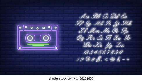 Audio cassette tape neon sign. Music and vintage musical equipment design. Night bright neon sign, colorful billboard, light banner. Vector illustration in neon style.