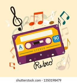 Audio Cassette Tape with Notes - Music Vector Retro Design
