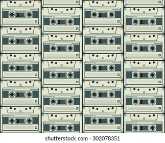Audio cassette. Vector background. Retro style