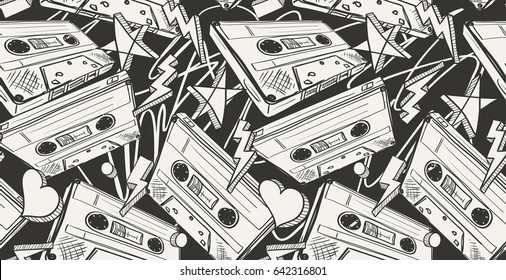 Audio cassettes drawn seamless pattern
