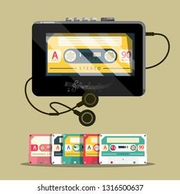 Audio Cassettess with Walkman. Retro Music Player Vector Design.