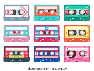 Audio or compact cassettes set. Retro music symbol collection. Magnetic tape for old styled recorder, player. Musicassette, sound, nostalgia. Vector music cassette isolated on white background.