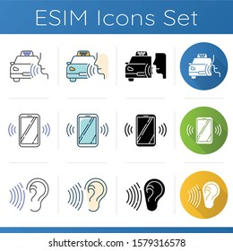 Audio control program icons set. Cab call app. Ringing smartphone, soundwave. Voice controlled application. Digital devices. Linear, black and color styles. Isolated vector illustrations