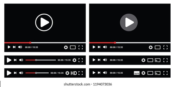 Audio control video media play button interface with menu and buttons panel Vector  template for web interface frame model Funny HD player navigation interface template mobile apps Chat social media