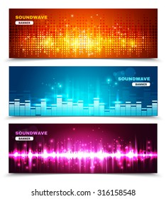 Audio equalizer sound wave display 3 horizontal banners set in vivid bright colors abstract isolated vector illustration
