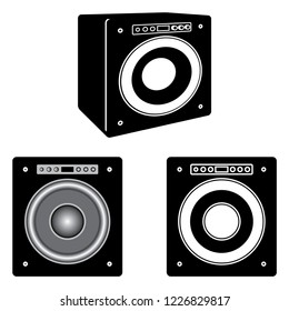 Audio equipment for the music experience. Subwoofer. Vector illustration