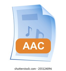 Audio File format or file extension AAC icon for interface applications and websites and software isolated on white background. Vector illustration