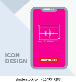 Audio, frequency, hertz, sequence, wave Line Icon in Mobile for Download Page