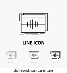 Audio, frequency, hertz, sequence, wave Icon in Thin, Regular and Bold Line Style. Vector illustration