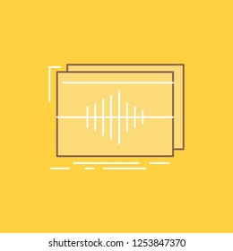 Audio, frequency, hertz, sequence, wave Flat Line Filled Icon. Beautiful Logo button over yellow background for UI and UX, website or mobile application